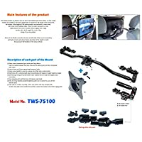 Bar type monitor mount to fix on both drivers and passengers seat headrests of vehicle Headrest Mount sturdy aluminum alloy frame with gear-interlocking way VESA standard plate