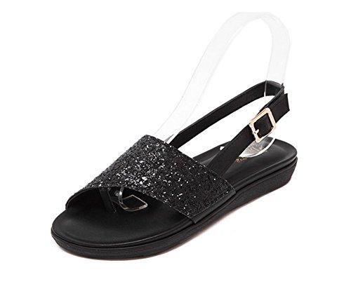 Sandalias del Casual Clip Moda D Plana De weiwei Mujeres Las Negro Zapatillas Dedo Pie vxYdnwq4