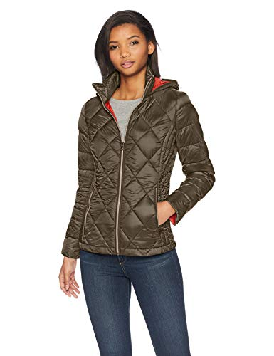 Lucky Brand Women's Short Packable Down Coat with Quilt Detail, Olive, Small