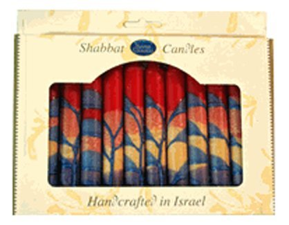 Safed Candles Shabbat Candle Set with Red, Orange, Purple and Blue Stripes