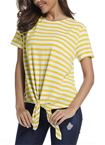 - SINRGAN Women's Short Sleeve Tie Front Knot Striped Casual Loose Fit Tee T-Shirt, Yellow, Small