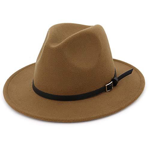 Lisianthus Women & Men Wide Brim Belt Buckle Fedora Hat Khaki 58-60cm