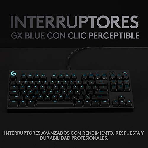 Logitech G PRO TKL Teclado Gaming Mecánico sin teclado numérico, Teclas GX-Clicky Azules, RGB LIGHTSYNC, Diseño portátil para esports, Cable Micro USB ...