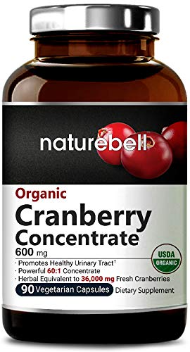 Organic Cranberry Whole Fruit Concentrate, 90 Capsules, Equivalent to 36,000mg of Fresh Cranberries, Powerfully Supports Urinary Tract Health, Kidney and Bladder Cleanse, Non-GMO & Made in USA