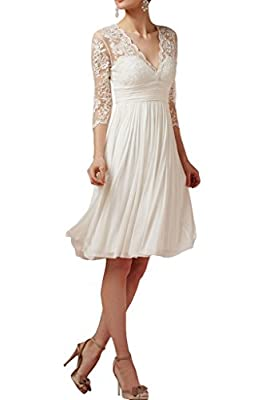 Angel Bride New A Line 3/4 Sheer Sleeves Lace and Chiffon Wedding Dresses Short