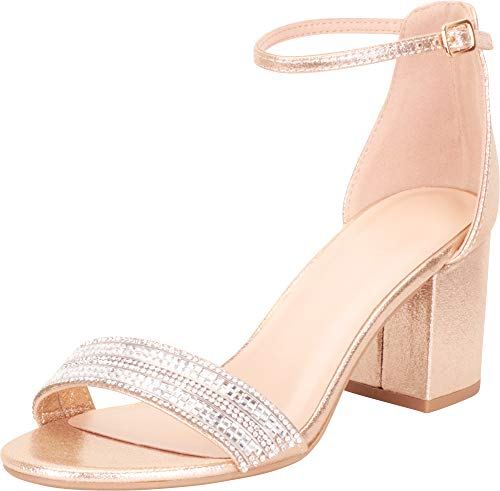 Cambridge Select Women's Single Band Ankle Strap Crystal Rhinestone Chunky Block Mid Heel Sandal,8 B(M) US,Gold ()