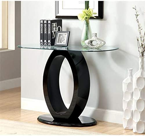 Furniture of America Mason Contemporary Glass Top Console Table