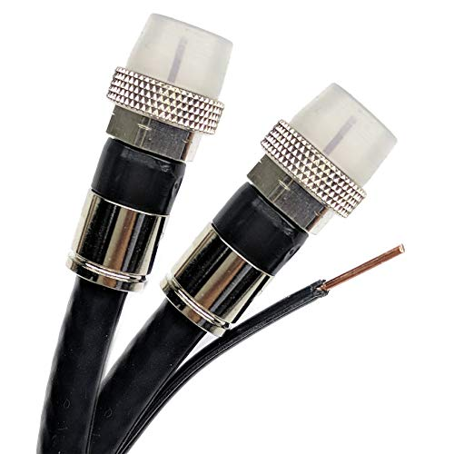 50ft DIRECTV APPROVED 3Ghz AERIAL DUAL SOLID BARE COPPER RG6 w/COPPER GROUND MESSENGER COAXIAL CABLE 18AWG WEATHER SEAL BRASS CONNECTORS UL ETL HD SATELLITE ASSEMBLED IN USA by PHAT SATELLITE INTL