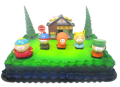 South Park Birthday Cake Topper Featuring South Park Characters and Other Themed Decorative Pieces
