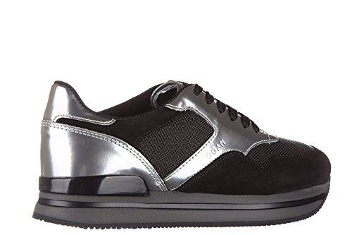 Zapatillas Hogan Mujer Zapatillas Deportivas Cuero H222 Sportivo Xl Allacciato Negro