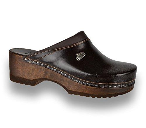 Cuero Zapatos Para Zuecos Marrón B4 Leon Mujer Zapatillas De TnPSpqR