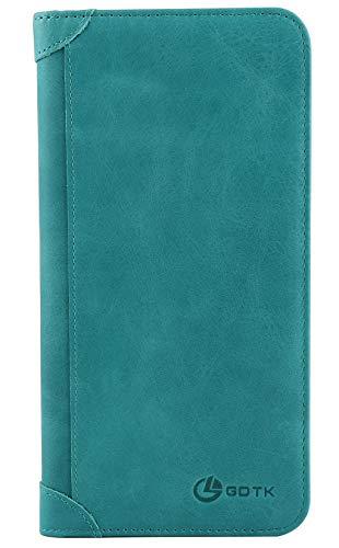 Women's Wallet - Genuine Italian Leather Long Bifold RFID Blocking Wallet (Sky Blue) ()