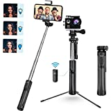 Mpow Selfie Stick Tripod, All in 1 Portable Extendable Selfie Stick with Bluetooth Remote & Fill Light, Compatible iPhone 11/11PRO/XS Max/XS/XR/X/8P/7P, Galaxy S20/S10/S9/S8 Gopro/Small Camera, Black