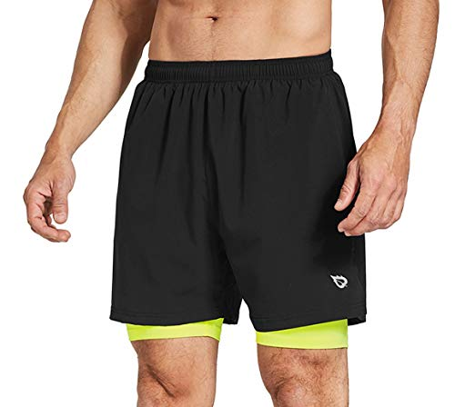 BALEAF Men's 2 in 1 Running Athletic Shorts Quick Dry Active Gym Shorts Back Zipper Pocket