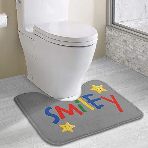 Bennett11 Smiley Contour Bath Rugs,U-Shaped Bath Mats,Soft Memory Foam Bathroom Carpet,Nonslip Toilet Floor Mat 19.2″x15.7″