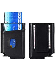 Pop Up Wallet Leather RFID Minimalist Wallet Automatic Card Holder w/Money Clip - Black - Small