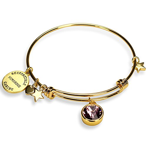 - Miraclelove Birthstone Charm Expandable Bangle Bracelets for Women, Mother's Day Jewelry Gifts
