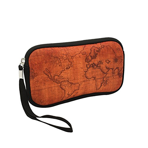 "Digital Accessory Clutch - Unisex Shockproof Neoprene Wristlet Wallet Clutch Purse, Coin Pouch, Pencil Bag, Cosmetic Bag Zipper Closure, 7"" x 4"" (Ancient World Map Print)"