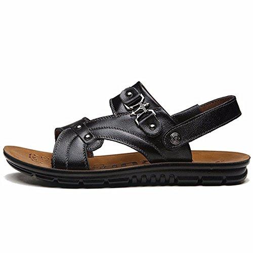 Il nuovo Uomini estate Spiaggia scarpa Uomini scarpa pelle sandali sandali pelle mode tendenza Spessore inferiore Tempo libero ,nero,US=9.5,UK=9,EU=43 1/3,CN=45