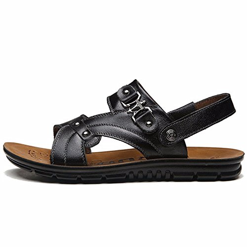 Das neue Männer Sommer Strand Schuh Männer Schuh Leder Sandalen Sandalen Leder Mode Trend Dicker Boden Freizeit ,schwarz,US=9,UK=8.5,EU=42 2/3,CN=44