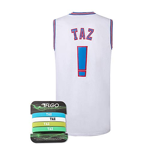 AFLGO Taz ! Space Jam Jersey Basketball Jersey Include Set Glow in The Dark Wristbands S-XXL (White, Large) ()