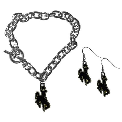 Siskiyou NCAA Wyoming Cowboy Chain Bracelet and Dangle Earring Set (Accessories Ncaa Jewelry)