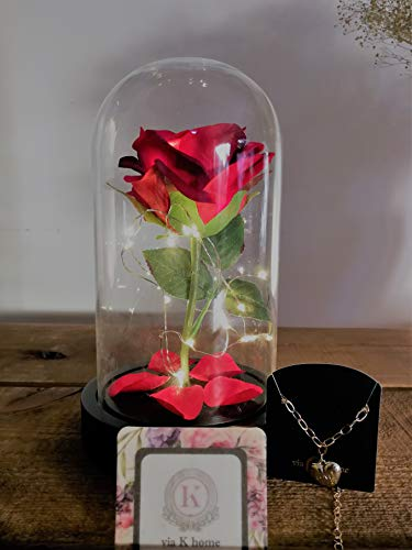 Via K Home-Beauty and The Beast-Enchanted Led Red Rose in Glass Dome with Bracelet Jewelry and Perfume Card (Wood)]()