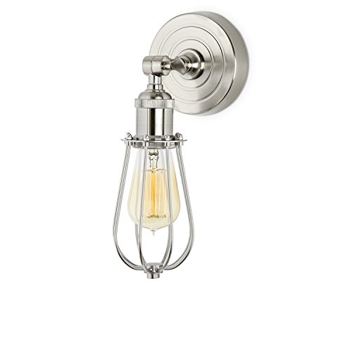 Satin Nickel Cage Wall Sconce Lamp with 1 Edison Style Bulb, Rain Drop Clifton Collection, ETL Listed
