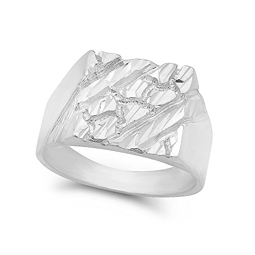 Large 22mm 925 Sterling Silver Italian Crafted Chunky Nugget Square Top Ring, Size 8