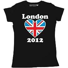 Batch1 Women's 2012 Great Britain Union Jack Supporters T-Shirt London Games X-Large Black