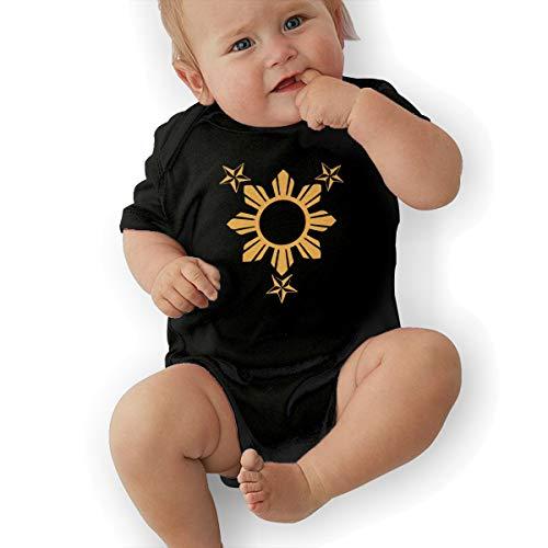 Short Sleeve Cotton Rompers for Unisex Baby, Fashion 3 Stars and Sun Filipino Philippines Flag Sleepwear Black]()