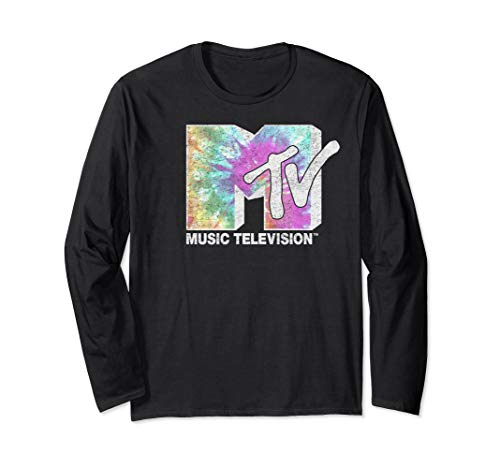 MTV Classic Light Fade Tie Dye Drip Logo Long Sleeve Tee ()