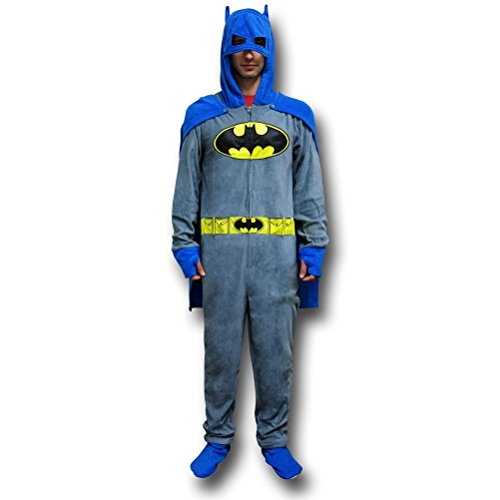 Batman Grey Union Suit Pajamas w/Cape and Cowl- Medium ()