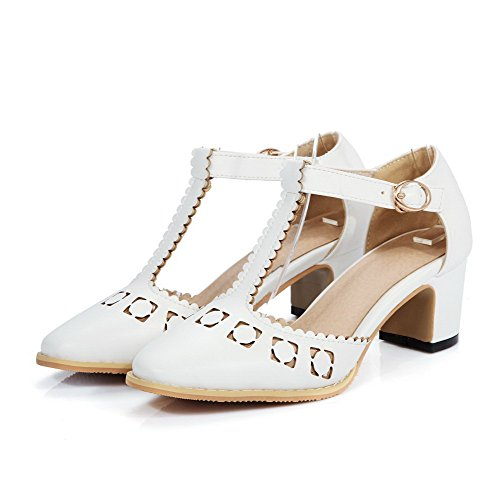 AmoonyFashion Womens Square Closed Toe Kitten Heels Solid Buckle Pumps Shoes White of0oBfqMF