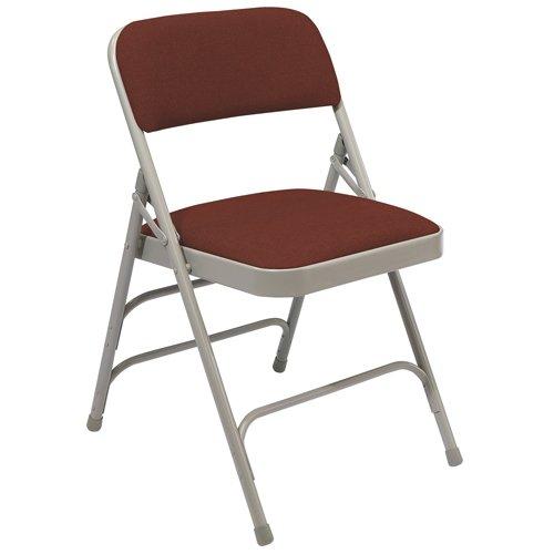 National Public Seating Folding Chairs - 1-1/4'' Thick Fabric Seat - Triple U-Brace - Wine Fabric/Gray Frame - Wine Fabric/Gray Frame - Lot of 4