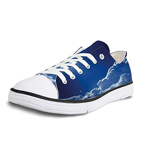 Canvas Sneaker Low Top Shoes,Night Sky Nocturnal Sky with Moon Lunar Stars Clouds Crescent Moonlight Image Women 5 (Flag With Crescent Moon And 5 Stars)