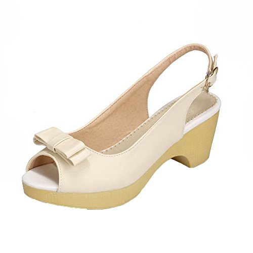 Aalardom Womens Buckle Open-toe Kitten-heels Pu Solid Sandals Beige