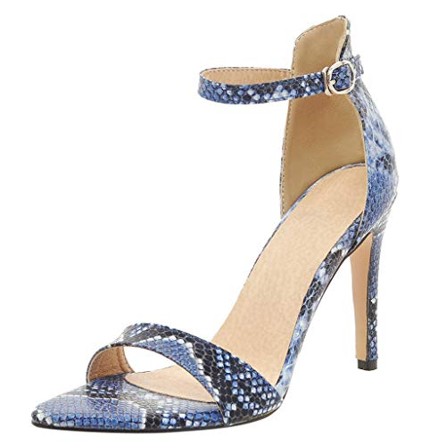 iYBUIA Women's Snake Print Ankle Strap High Heels Open Toe Sandals High Stiletto Pump Snake Sandals Blue ()
