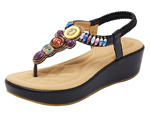 CAMSSOO Women's Round Peep Toe Bead Elastic T-Strap Bohemia Roman Sandals Summer Beach Thong Platforms Wedge Shoes Black Soft PU W6toS