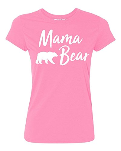 Promotion & Beyond Mama Bear Text Funny Gift Women's T-Shirt, 2XL, Azalea Pink (Bear Womens Cut T-shirt)
