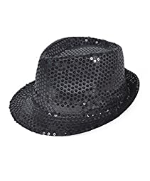 Buckletown Sequined Fedora Hat (black)