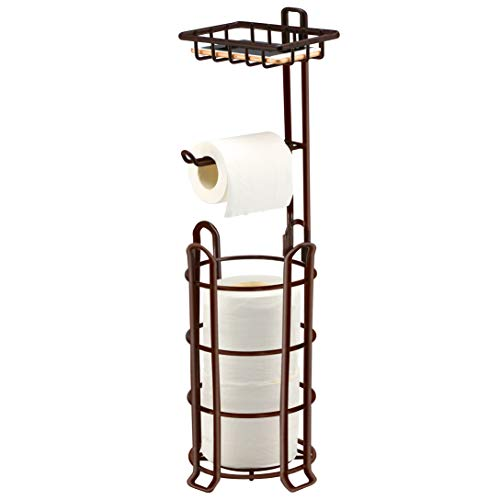 TomCare Toilet Paper Holder Toilet Paper Stand 4 Raised Feet Bathroom Accessories Portable Tissue Paper Dispenser Reserve Free Standing Toilet Paper Roll Storage Shelf Bathroom Bronze