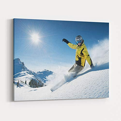 Rosenberry Rooms Canvas Wall Art Prints - Young Snowboarder In Deep Powder Extreme Freeride (24 x 20 ()