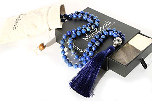 - MeruBeads Premium Lapis Lazuli Mala Necklace - Japa Mala - Lapis Mala Necklace - Tassel Necklace - Gemstone Mala