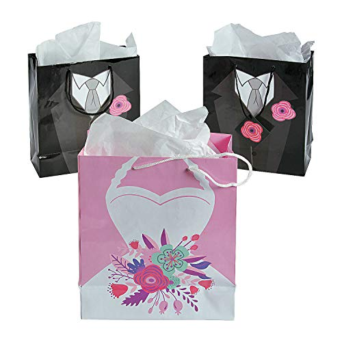 (Fun Express - Med Bride & Groom Gift Bags (dz) for Wedding - Party Supplies - Bags - Paper Gift W & Handles - Wedding - 12)