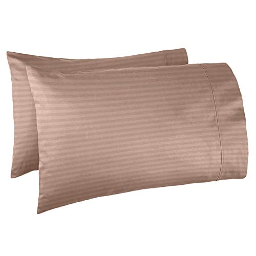 Taupe Damask Stripe - Nestl Bedding Soft Pillow Case Set of 2 - Double Brushed Microfiber Hypoallergenic Pillow Covers - 1800 Series Damask Dobby Stripe Pillow Cases, King - Taupe