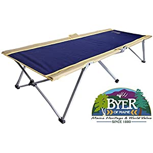 BYER OF MAINE Easy Cot, Full Size 78″ L X 31″ W X 18″, Easy to Assemble, Ideal for Guest Bed, 330lb Weight Limit, Camp Cots for Adults, Folding Cot, Cot for Sleeping, Comes with Travel Bag, Single