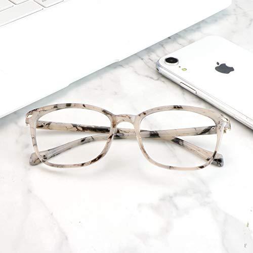 LifeArt Blue Light Blocking Glasses, Anti Eyestrain, Computer Reading Glasses, Gaming Glasses, TV Glasses for Women Men (Marble, +1.75 Magnification)