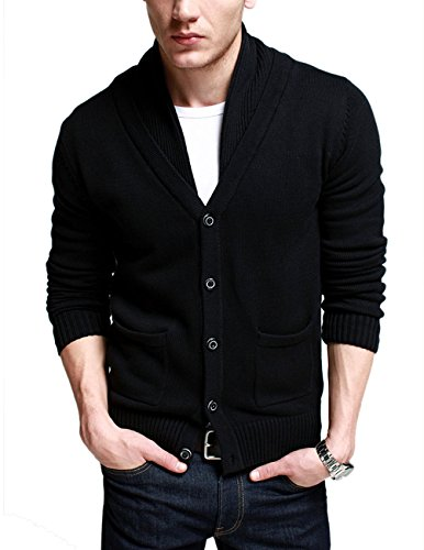 Match Men's K|G Series Shawl Collar Cardigan Sweater (US M (Tag size XL),Black)