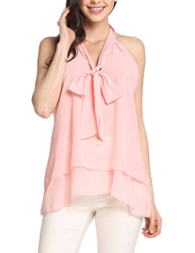 Halter Neck Top With Bow - 4